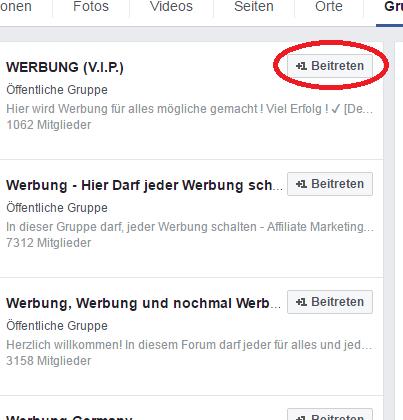 Facebook Gruppen finden